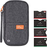 RFID Travel Wallet Family Passport Holder, Tuscall Document Organiser Case Creidt Card Holders with Removable Hand Strap (Grey)