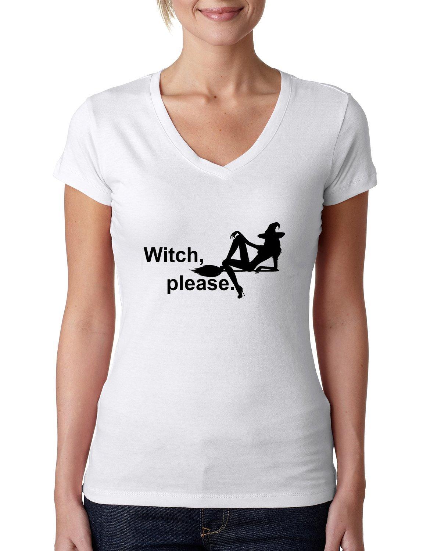 Witch please funny slogan dammen V-neck baumwolle t-shirt: Amazon.de:  Bekleidung