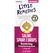 Little Noses Saline Spray/Drops for Dry for Stuffy Noses, 1-Ounce (30 ml), 3 Count