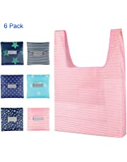 Shopping Bag, Yohoo Reusable Environmental Grocery Tote Bags Foldable into Attached Pouch,Washable,Waterproof and Easy to Carry, Great for Outgoing and Shopping