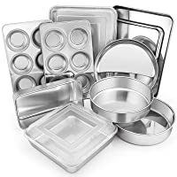 12-Piece Stainless Steel Bakeware Sets, E-far Metal Baking Pan Set Include Round Cake Pans, Square/Rectangle Baking Pans with Lids, Cookie Sheet, Loaf/Muffin/Pizza Pan, Non-toxic & Dishwasher Safe