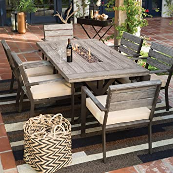Amazon  Driftwood Patio  Piece Rectangle Dining Set with