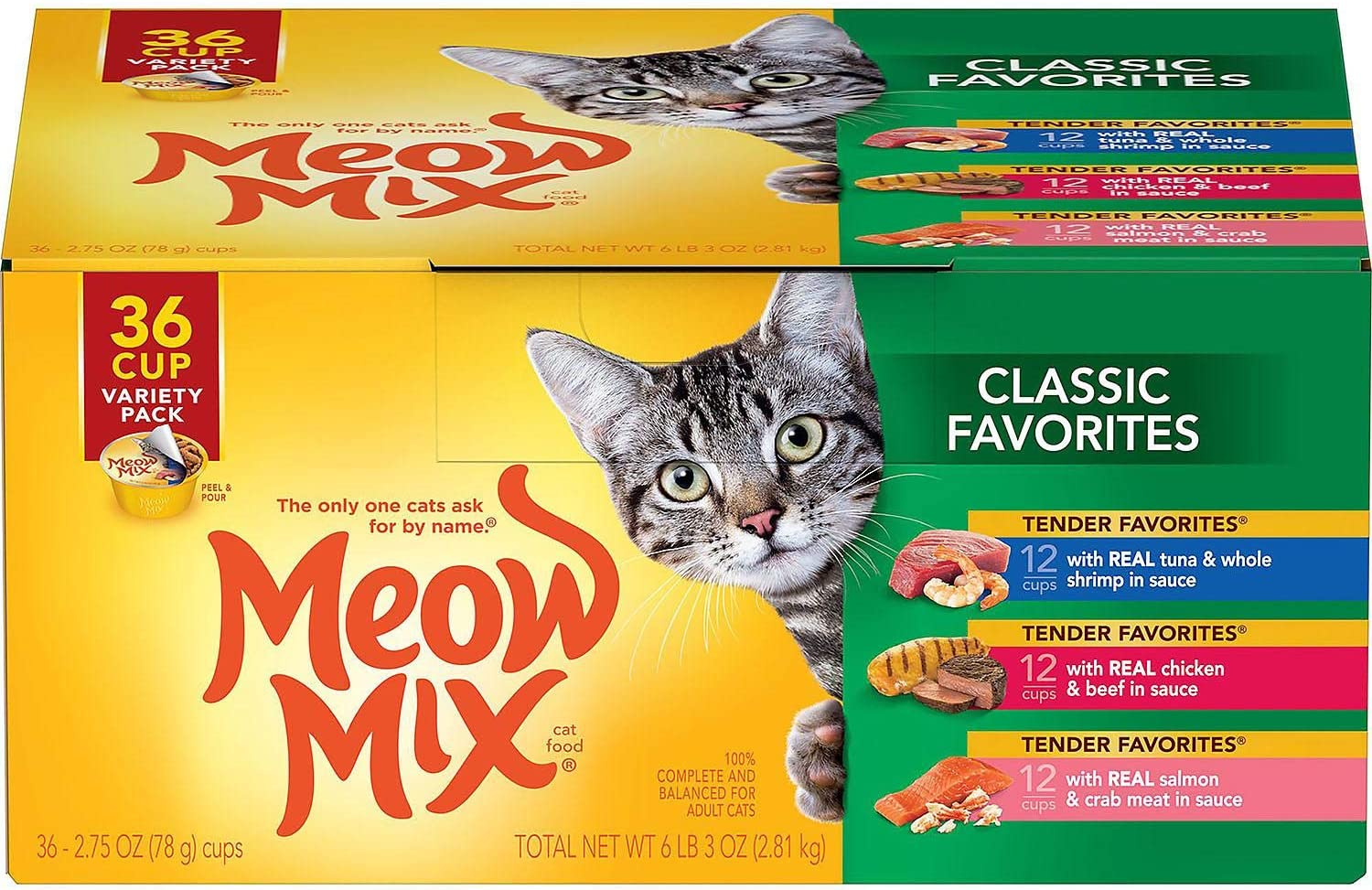 Meow Mix Classic Favorites, Variety Pack (2.75 oz., 36 ct.) - 1 BOX