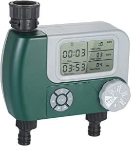 Roeam Hose Watering Timer Programmable Digital Hose Faucet Timer Outdoor Battery Operated Automatic Watering Sprinkler System Irrigation Controller with 2 Outlet for Garden Plants