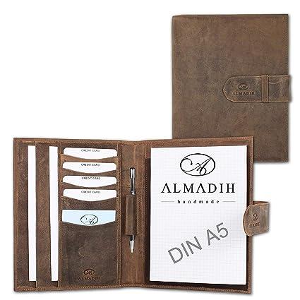 ALMADIH Carpeta de cuero A5 + Bloc notas agenda Personal ...
