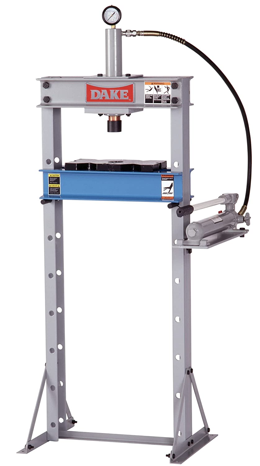 Dake F-10 Model Manual Utility Hydraulic Floor Press, 10 Ton Capacity, 24 Length x 28 Width x 60 Height