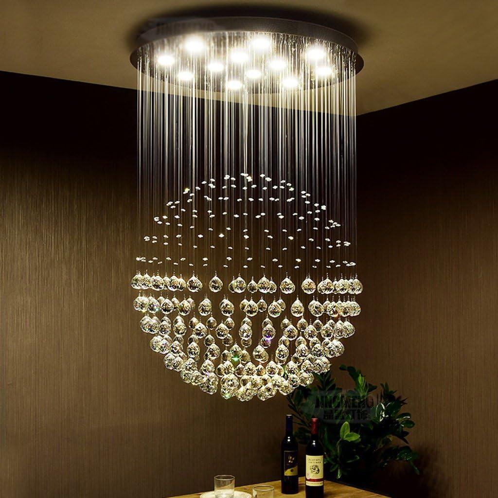 Lustre en cristal rond conduit moderne simple chaleureux escalier double chambre à coucher salon restaurant lustres ( taille : 60*80cm (7 heads) )