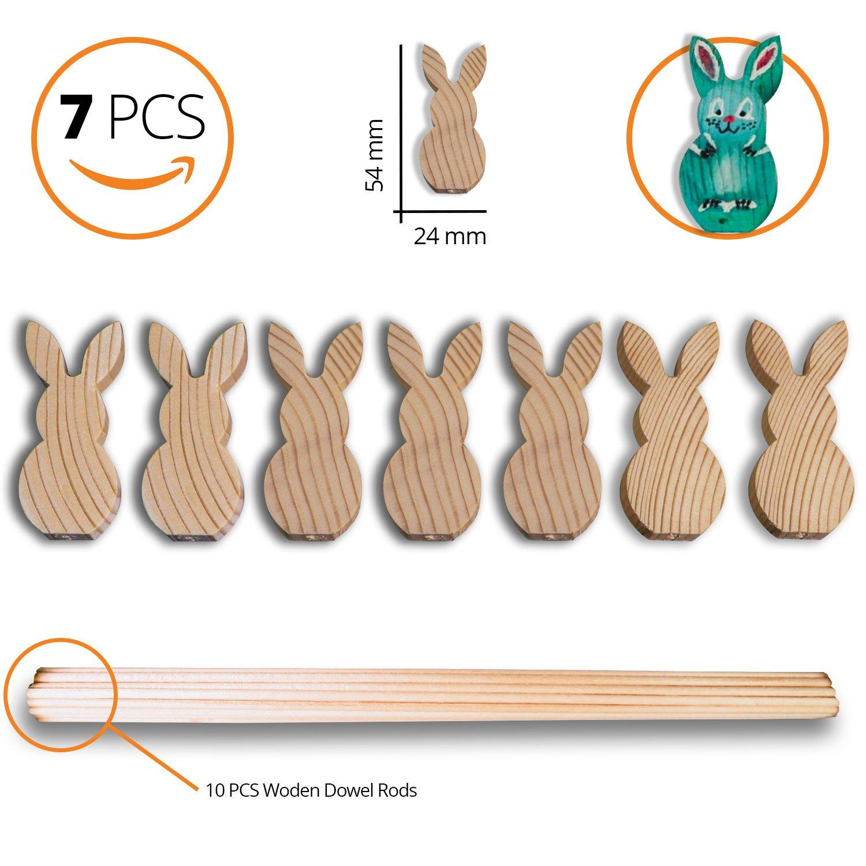 Ausschnitt Form und 10/PCS Holzd/übel 12/Zoll x 1//8/Zoll 0.94-inch X 2.12-inch Kinder Art Craft f/ür Ostern Holz Ostern Bunny Dekorationen Sch/öne Formen aus Holz -Set of 7/klein Bunny