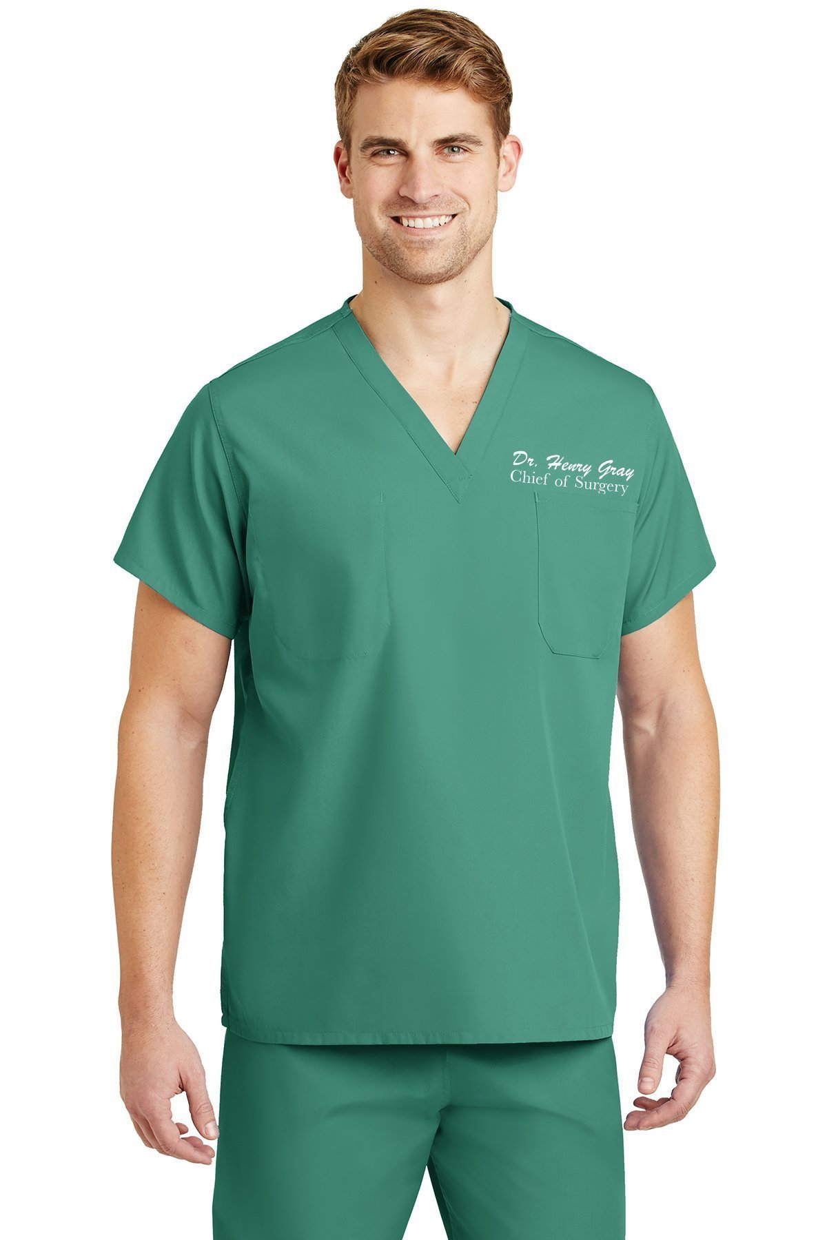 DOCAZON   PERSONALIZED Embroidered Name Scrub Top + Bottom Set for Medical Professional   Doctor Physician Nurse MD DO PA NP Student Med Tech MLS Lab Surgery Laboratory (Jade Green, Men)