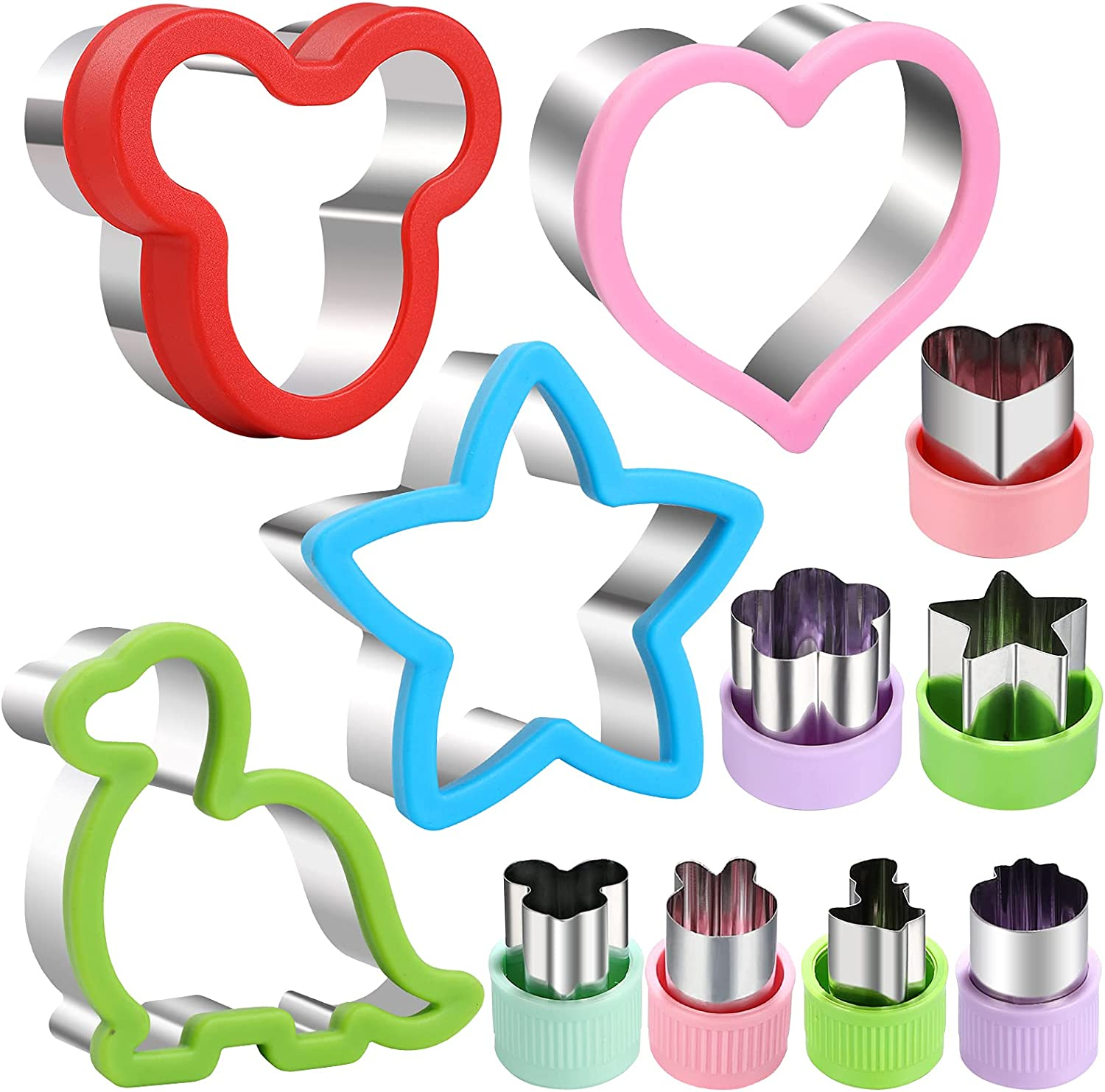 Sandwiches cookie Cutter set, Mickey Mouse & Dinosaur & Heart & Star Shapes Sandwich Cutters Cookie Cutters Vegetable cutters-Food Grade Cookie Cutter Stamps Mold Decorate Food for Kids
