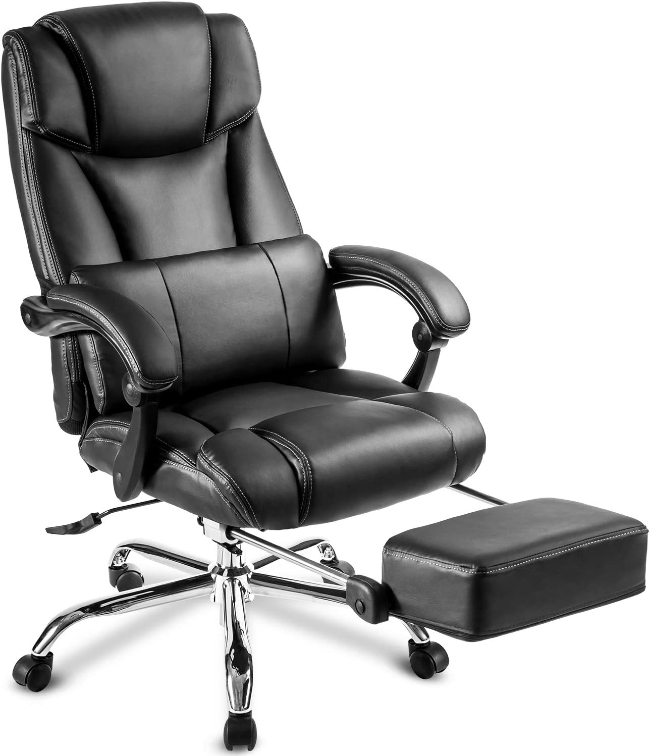170 Degree Reclining Ergonomic Office Chair,JULYFOX Adjustable High Back Gaming Chair with Footrest Remover Lumbar Support Computer Executive Leather Chair Heavy Duty