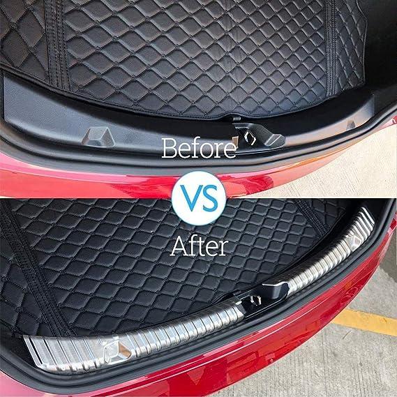 inserto de borde cromado protector de parachoques trasero de acero inoxidable con aspecto de fibra de carbono interior Model 3 Protector de maletero trasero delantero del autom/óvil paquete de 3