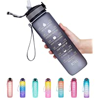 32oz Leakproof BPA Free Drinking Water Bottle with Time Marker & Straw to Ensure You Drink Enough Water Throughout The…