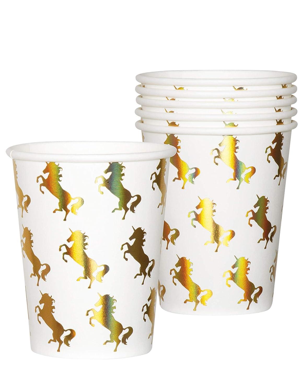6 Vasos * Unicornio Dorado * para cumpleaños Infantiles o ...
