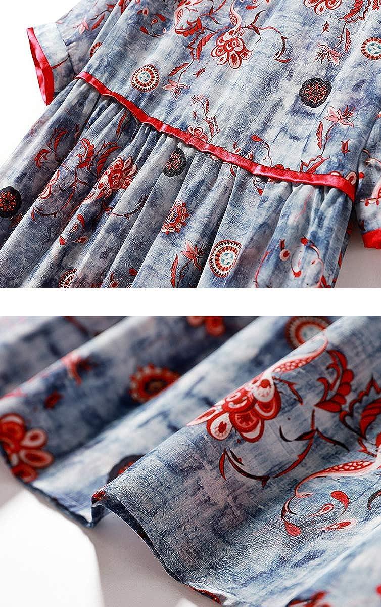 DISSA SER10465 Women Figure Flattering Short Sleeve Silk Dress A-Line Midi Dress