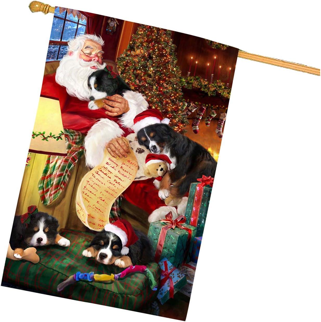 Bernedoodle Santa Sleeping with Dog /& Cats Semi-Automatic Foldable Umbrella Black Cat Birman Cat Bichon Frise Bernese Mountain