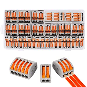 Compact Wire Connectors, Aigreat 100pcs Compact Splicing Connectors, Lever Nut Assortment Conductor CE Listed and RoHS Compliant