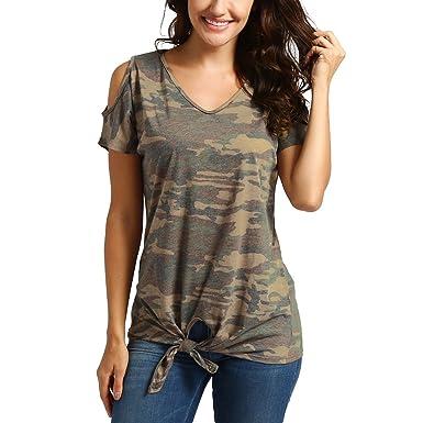 2c2f2bce04 Women T-Shirt, Camouflage Short Sleeve Summer Cold Shoulder Knot ...