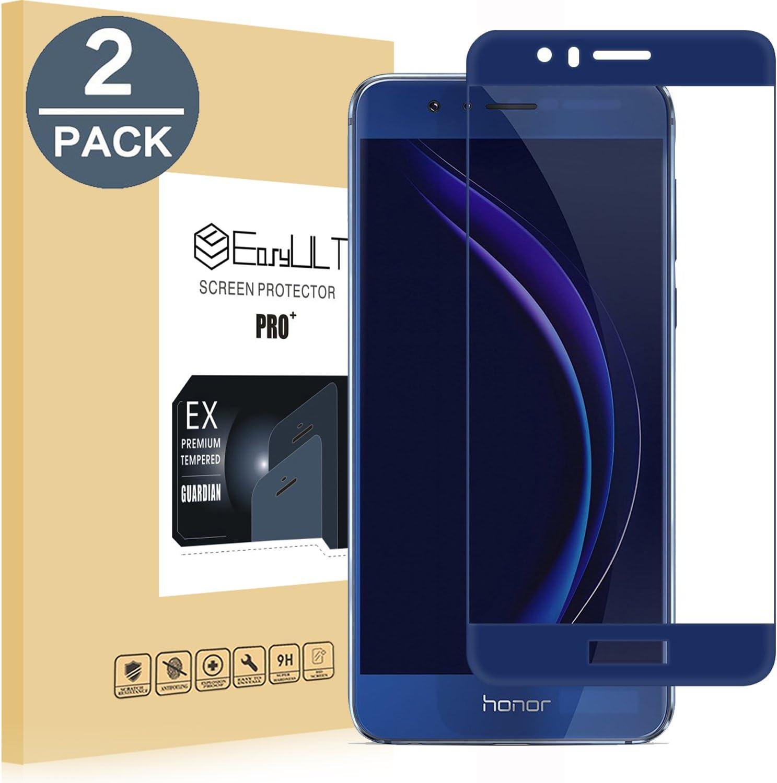EasyULT Protector de Pantalla para Huawei Honor 8 [2 Unidades], Cristal Templado Cobertura Completa para Huawei Honor 8(Transparente,Dureza de Grado 9H)-Azul: Amazon.es: Electrónica
