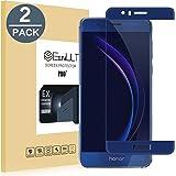 EasyULT Protector de Pantalla para Huawei Honor 8 [2 Unidades], Cristal Templado Cobertura Completa para Huawei Honor 8(Transparente,Dureza de Grado 9H)-Azul
