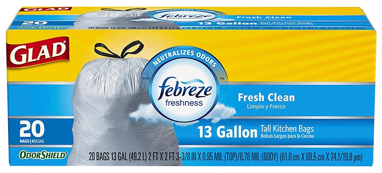 Amazon.com: Glad Tall Kitchen Odor Shield Drawstring Trash Bags ...