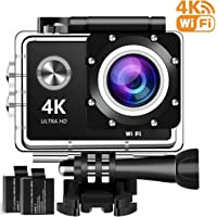 4K Action Camera, 16MP WiFi Ultra HD Underwater Waterproof 30M Sports Camcorder with 170° Degree Wide Angle Lens, 2Rechargeable Batteries and Mounting Accessories Kits G8006