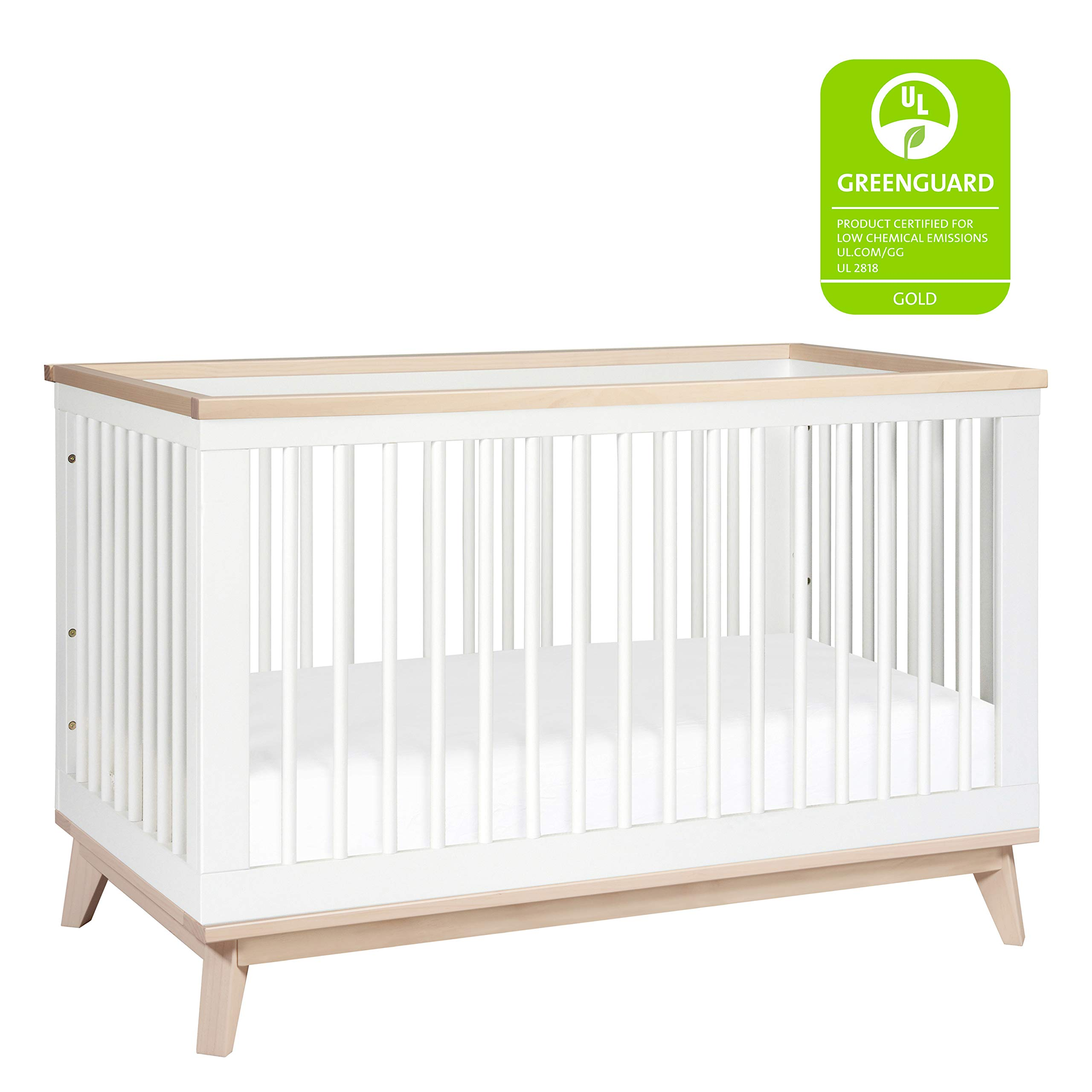 Babyletto Scoot 3-in-1 Convertible Crib with Toddler Bed Conversion Kit, White / Washed Natural by Babyletto