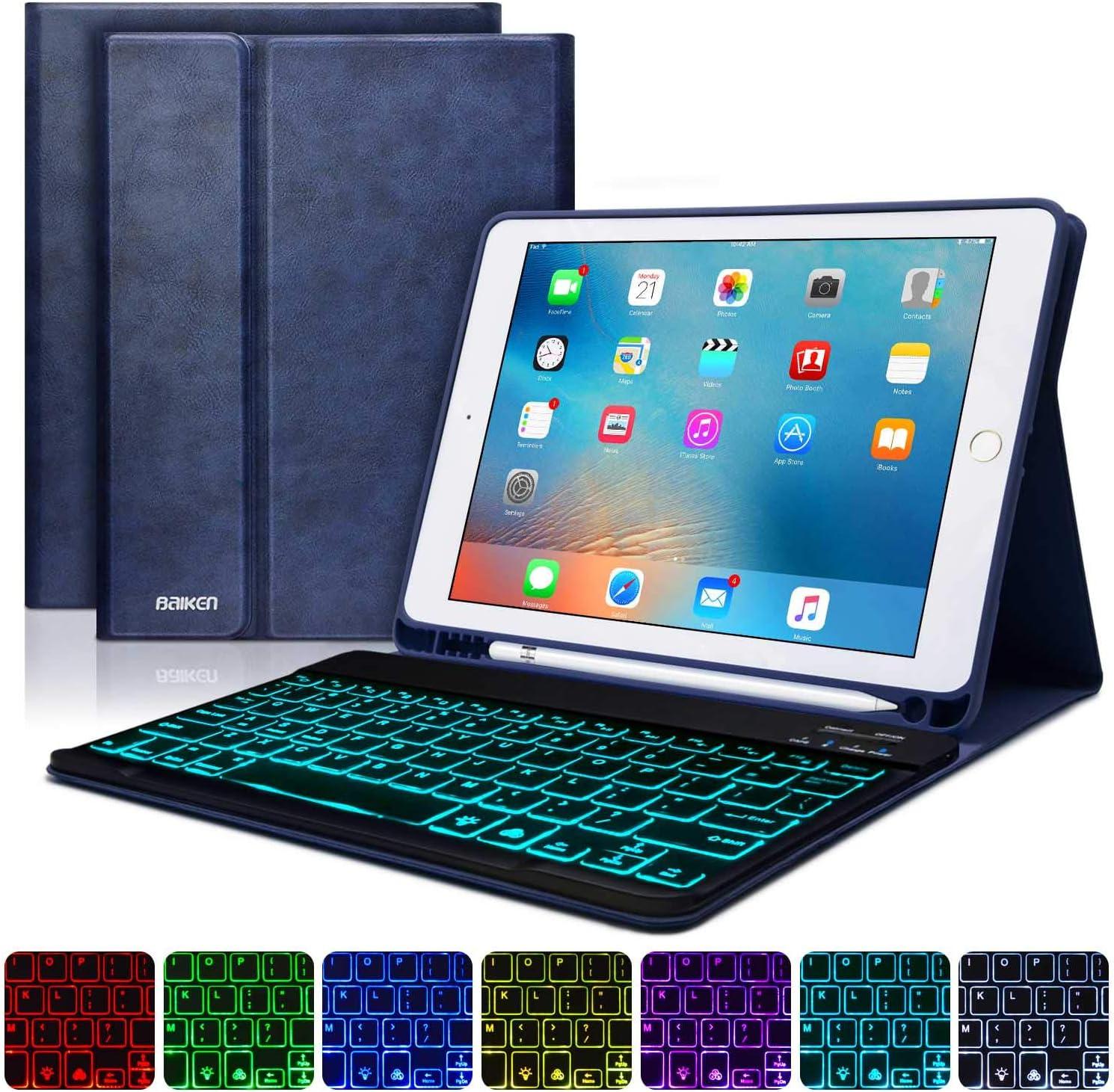 iPad 9.7 Keyboard Case for iPad 6th Gen 2018 -iPad 5th Gen 2017 -iPad Pro 9.7 -iPad Air 2&1 -iPad Case with Backlit Keyboard and Pencil Holder-Bluetooth Removable Keyboard