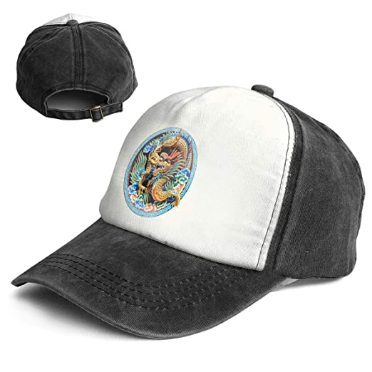a64973348c3a1a Amazon.com: Chinese Dragon Clip Art Trend Printing Cowboy Hat Fashion Baseball  Cap for Men and Women Black and White: Clothing