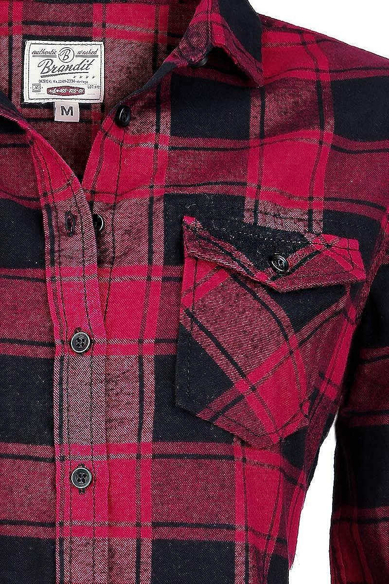 Brandit Camisa a Cuadros de Franela Amy Camisa de Franela Negro/Rojo S: Amazon.es: Ropa y accesorios