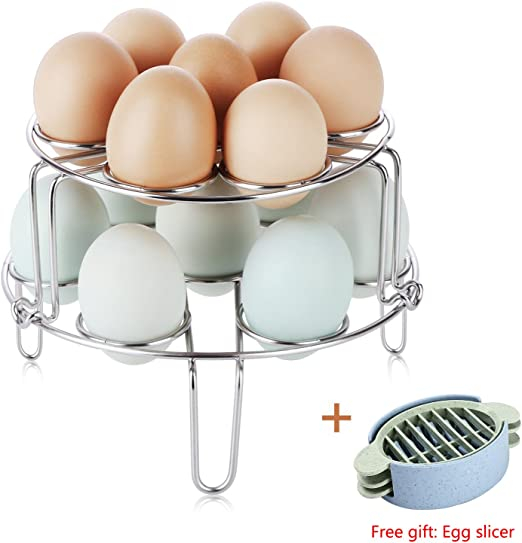 2 Pack Stainless Steel Kitchen Stackable Egg Cooker Rack Steaming Holder Stand S
