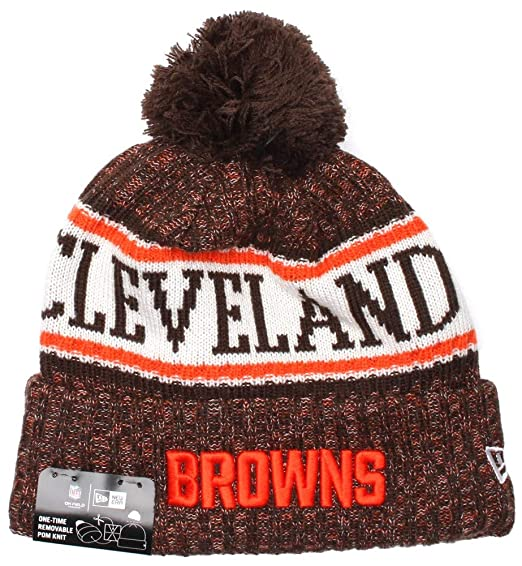 eee49fd4343 Amazon.com   New Era Authentic Cleveland Browns Sport Knit NFL 2018 Beanie