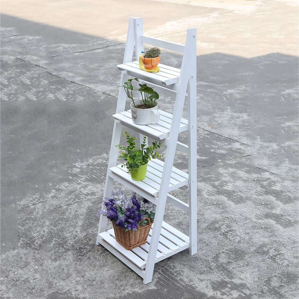 Estantería de escalera para jardín, con 4 peldaños, ideal para plantas, autoestable, en madera de color blanco: Amazon.es: Hogar
