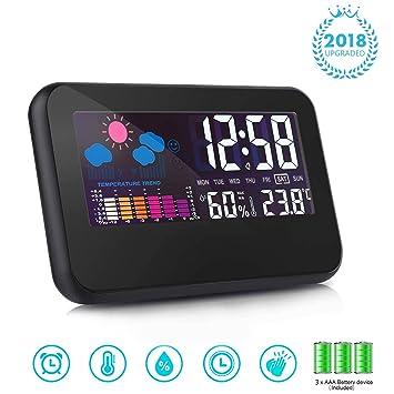 T-Bog Reloj Despertador Digital Fecha, Pantalla de Temperatura y Humedad Reloj de Silencio USB y Batería (Incluido) Recargable Negro (Negro): Amazon.es: ...