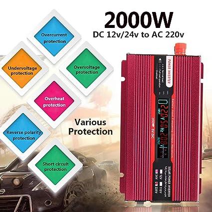 Amazon.com: Carvicto - P eak 2000W Car Power Inverter 12/24V ...