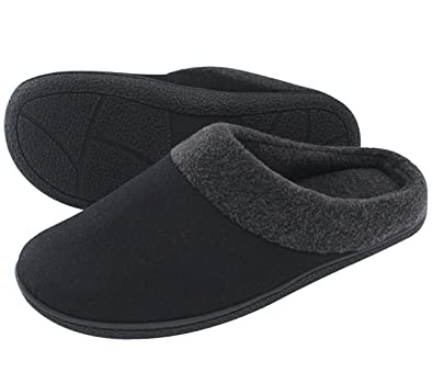 HomeIdeas Menu0027s Woolen Fabric Memory Foam Anti Slip House Slippers, Spring  Summer Breathable Indoor
