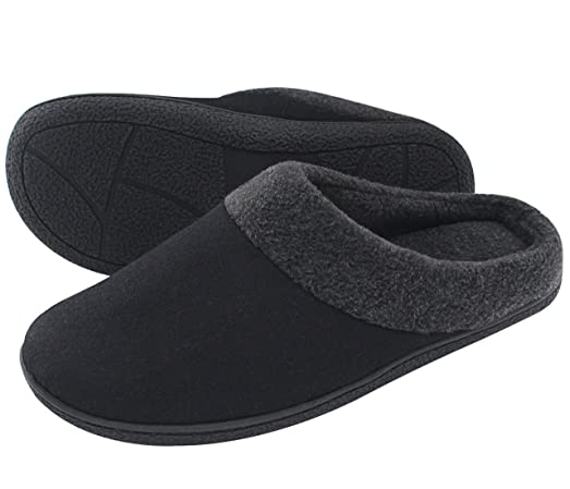 Image result for HomeIdeas Men's Woolen Fabric Memory Foam Anti-Slip House Slippers, Winter Breathable Indoor Shoes