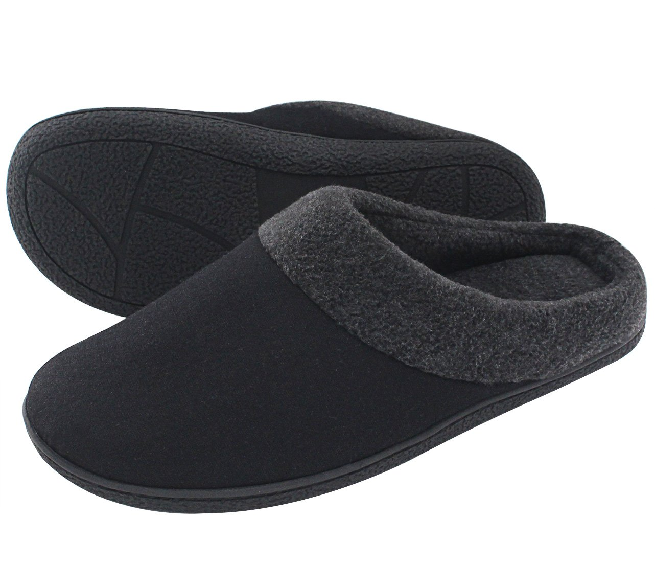 HomeIdeas Men's Woolen Fabric Memory Foam Anti-Slip House Slippers- Black/Large- US 11-12/ UK 10-11