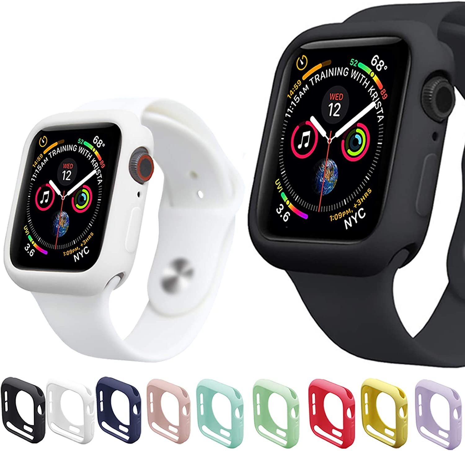 Miimall [9 Pack] Compatible Apple Watch Series 6 Series 5 Series 4 Case 44mm, Anti-Scratch Shockproof Protective Cover Case for 44mm Series6 / Series 5 / Series 4