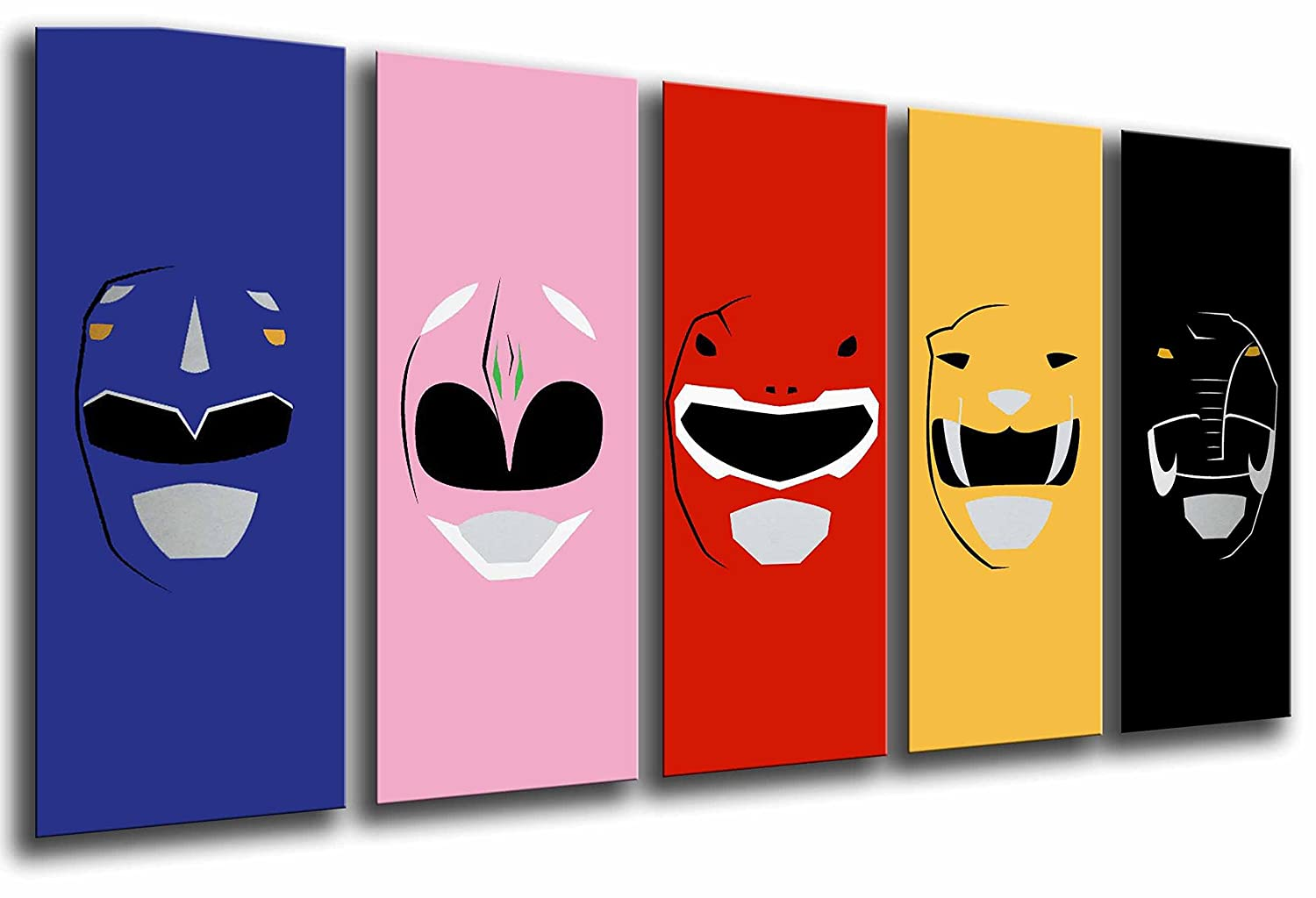 "MULTI Wood Printings Art Print Box Framed Picture Wall Hanging - characters the Power Rangers, (Total Size: 65"" x 24,4""), - Framed And Ready To Hang - ref. 26658 (Total Size: 65"" x 24 4"") Cuadros Camara"