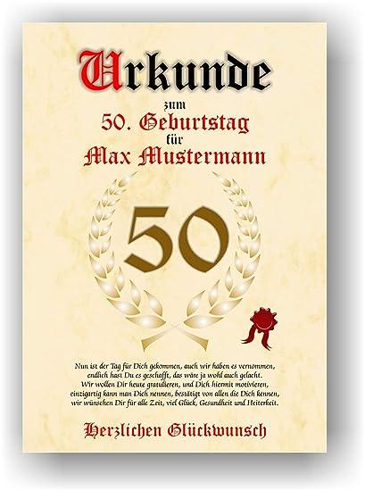 Documento para el 50º cumpleaños - Tarjeta de felicitación ...