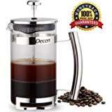 Decen French Press Coffee & Tea Maker with Stainless Steel Stand & Thermal Shock Resistant Glass - 8 Cup / 4 Mug in 34Oz