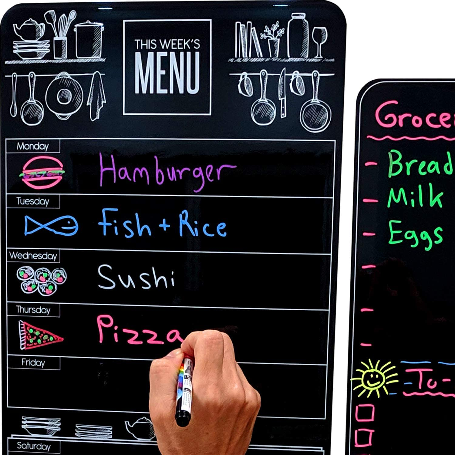 "Cute 10""x16"" Magnetic Dry-Erase Weekly Menu Blackboard for Kitchen Fridge (with 8 Bright Chalk Markers) & Free Bonus - Grocery/to-Do Lists Board - Daily Dinner Meal Planner Set for Home"