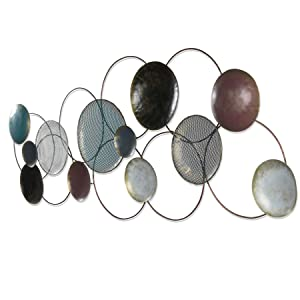 Collectible India Metal 3D Wall Hanging Art Sculpture Large Circles Plates Mounted Showpiece(Multicolour, 64x26-inch)