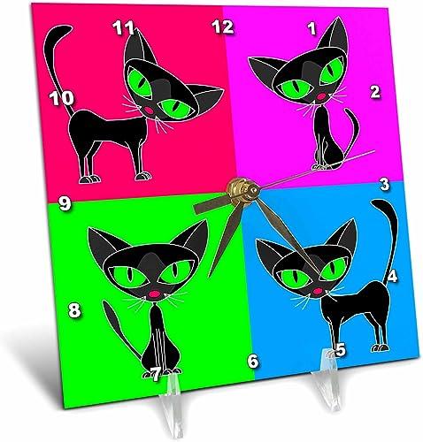 3dRose dc_6304_1 Desk Clock, Black Cat Four Attitudes Design, 6 by 6-Inch
