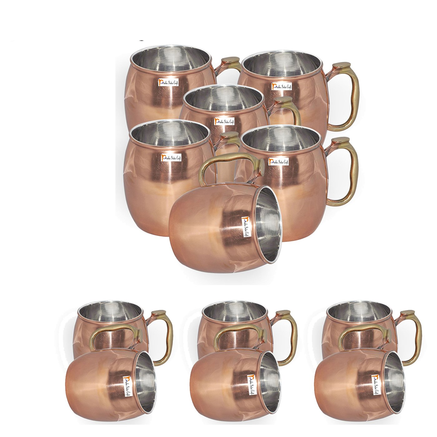 Set of 12 - Prisha India Craft ® Copper Plating Stainless Steel Best Quality Mule Mug 550 ML / 18, Thumb Handle Premium Moscow Mule Copper Mug, Moscow Mule Cocktail Cup, Copper Mugs, Cocktail Mugs