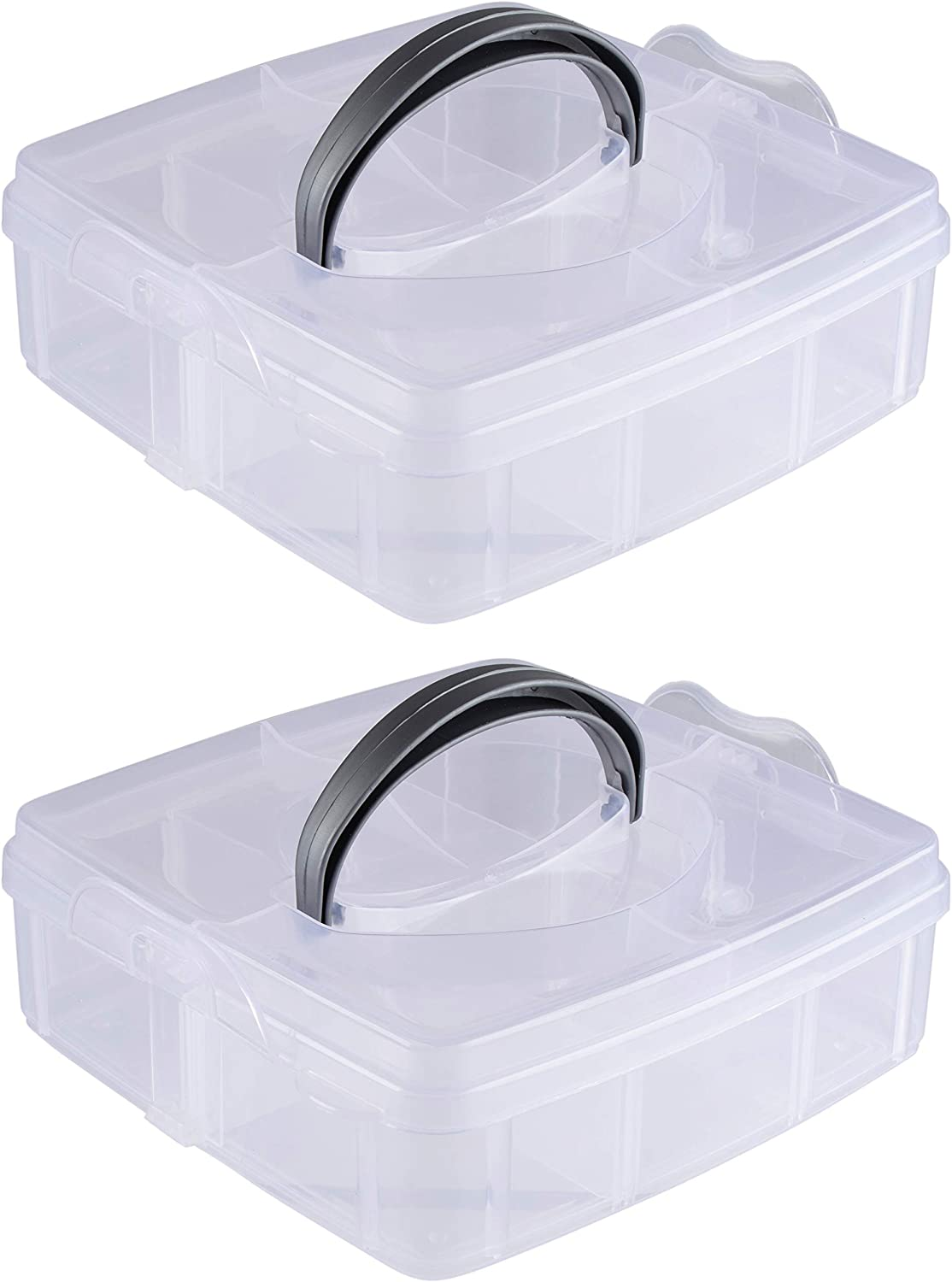 Plastic Craft Organizer Box with 6 Compartments (6 Inches, 2-Pack)