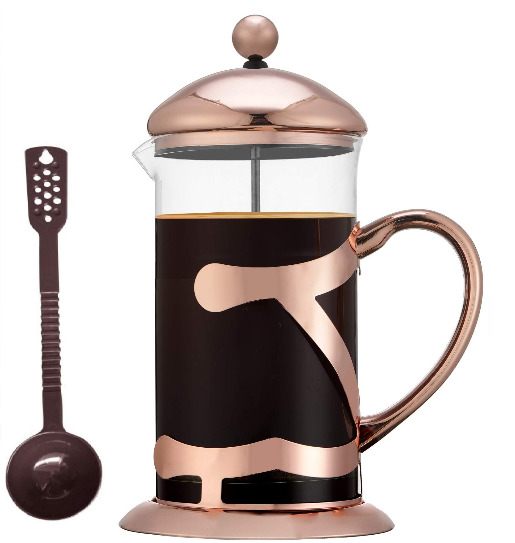 SmartHom French Press Coffee Maker 34 Oz 8 Cups, Particular Coffee Press & Tea Maker with Triple Filters & Plated Stainless Steel Base & Durable Heat Resistant Glass by SmartHom