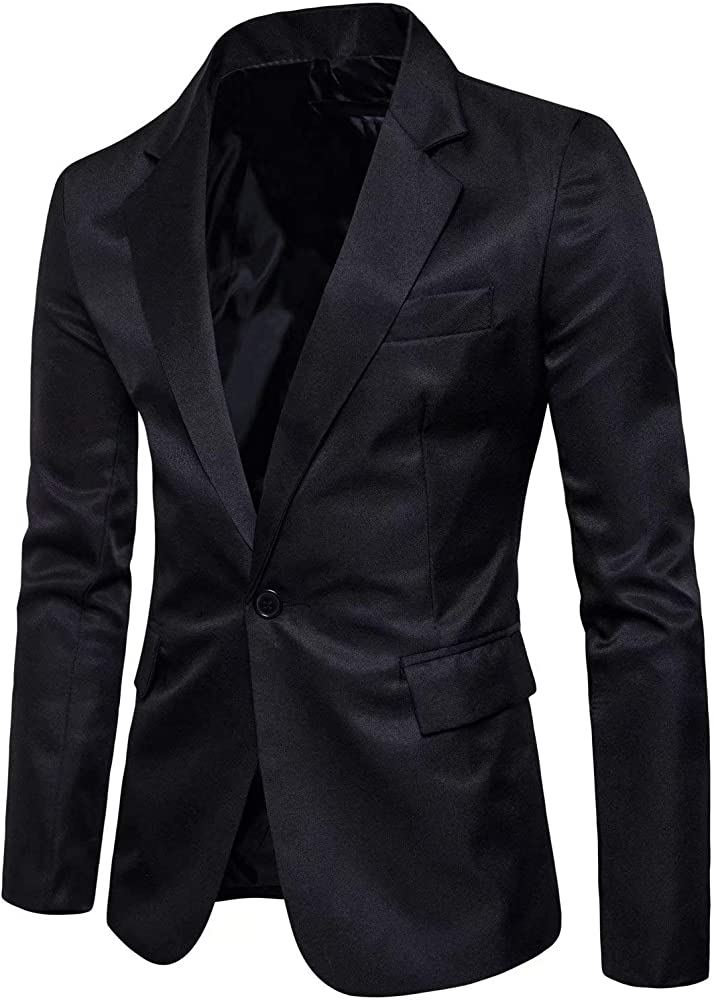 Mens Long Sleeves Peak Lapel Collar One Button Slim Fit Sport Coat Blazer
