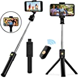 Selfie Stick Tripod, Extendable Bluetooth Selfie Stick with Wireless Remote, Compatible with iPhone 11/11 pro/X/8/8P/7/7P/6s/